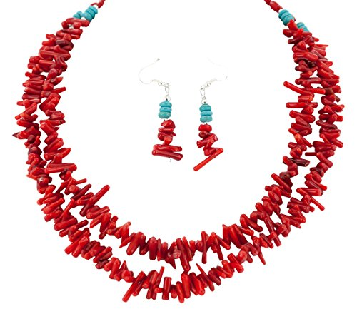 Native-Bay 2 Strand Authentic Made by Charlene Little Navajo Silver Hooks Coral Earrings and American Necklace Set