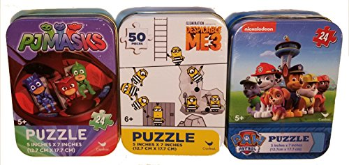 Bundle Set of 3 Kids Mini Jigsaw Puzzles: PJ Masks (Superheroes Catboy Gekko Owlette), Nickelodeon Paw Patrol and Despicable Me 3 (Minions) 24/50 Pieces in Collectible Illustrated Travel -