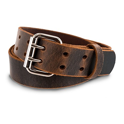- Hanks Legend - Men's Double Prong Leather Belt - Heavy Duty Belts - USA Made - 100 Year Warranty - Crazy Horse - Size 34
