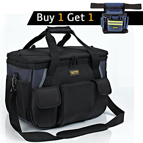 "FASITE X507-14A 14"" Tray Tote Tool Bag with Shoulder Strap Fishing Electrician Work Bag"