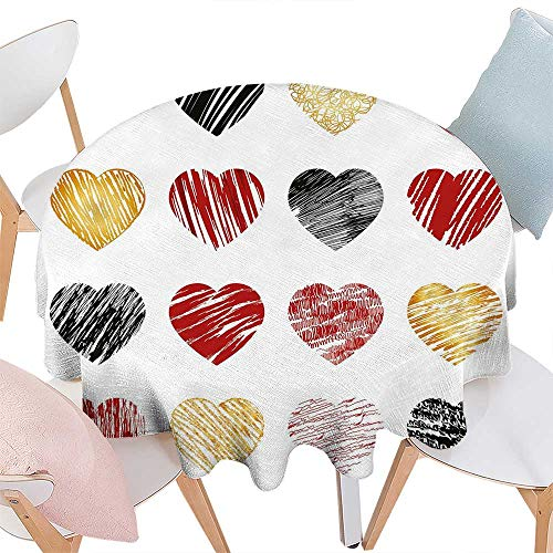 (cobeDecor Romance Patterned Round Tablecloth Hand Drawn of Heart Figures Icons Love Valentines Wedding Theme Print Dust-Proof Round Tablecloth D50 Pale Coffee Black)