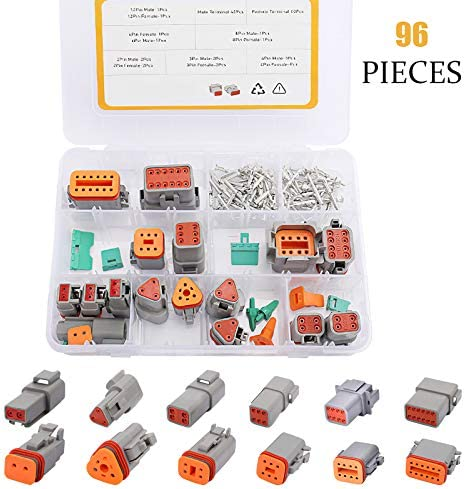 Qukpa 96 PCS Electrical Wire Connector Plug DT Automotive Connectors Waterproof Gray Terminal Male/Female 2 3 4 6 8 12 Pin Connector Deutsch Kit for Motorcycle Truck Car Boat Scooter
