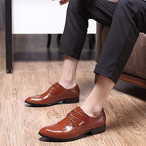 d5b302793ea567 Plate Mariage Pointu De Bloc Lacets Vernis Ville Derby Bout Wealsex Pu  Marron Cuir Mode Chaussures Homme D'affaires 4YwPOx