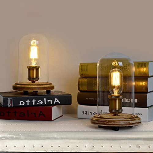 edison table lamp vintage home lighting. JiaYouJia Retro Industrial Style Edison Bulb Glass Cloche Table Lamp Home Bar Decor Vintage Lighting A