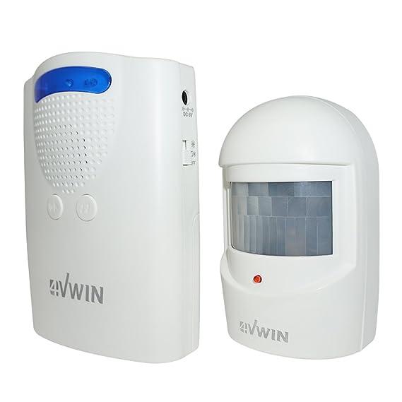 4VWIN - Alarma y Timbre inalámbrico de Seguridad para el hogar, 1 Receptor de Largo Alcance y 1 Detector de Sensor de Movimiento PIR 15 melodías y 4 Niveles ...
