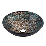 Vataler 16.5'' Round Modern Tempered Glass Vessel Sink, Colorful Artistic Handmade Bathroom Vanity Bowl with 5 Complicated Processes, Only 10 PCS Available (Mounting Ring Included)