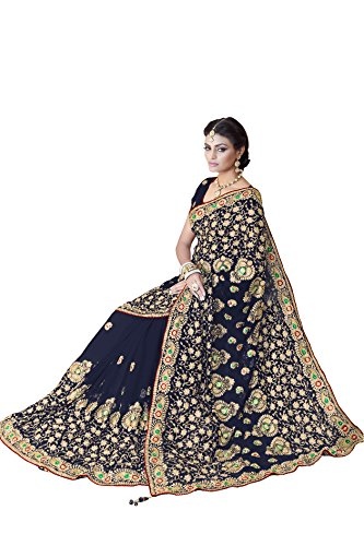 Sourbh, Women Faux Georgette Bridal Wedding Saree Mirchi Fashion Indian Sari, Navy Blue, One Size