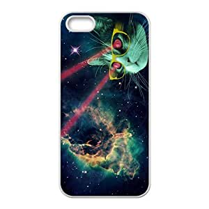 Custom Galaxy Hipster Cat Diseño Rubber Protection Case Skin For iPhone 5and iphone 5s