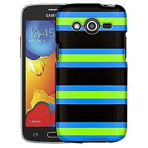 Samsung Galaxy Avant Case, Slim Fit Snap On Cover by Trek Preppy Stripes Green Black Blue Case