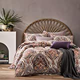 Cynthia Rowley 3pc Full Queen Cotton Duvet Cover Set Paisley Moroccan Medallion Coral Red Blue Taupe (Queen, Terracotta)