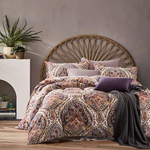 Cynthia Rowley 3pc Full Queen Cotton Duvet Cover Set Paisley Moroccan Medallion Coral Red Blue Taupe (Queen, Terracotta) from Cynthia Rowley New York