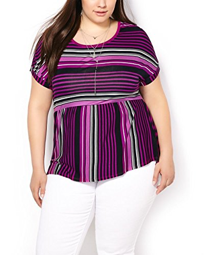 Penningtons Womens Plus Size Short Sleeve Printed Top Wild Aster 5X