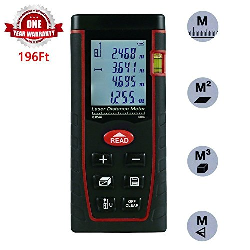 Acekool Laser Measure 196 Feet,Laser Distance  with Single and Continuous Measurement,Area and Volume  Measurement,Range Finder with m/in/ft,Laser Measure 0.16 to 196Feet