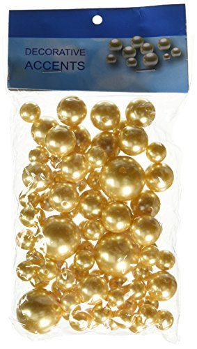 Homeford Assorted Plastic Bead Pearls, 14mm/20mm/30mm, Gold, 84-Pack