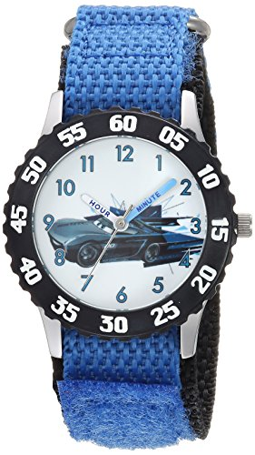 Disney Boy's 'Cars 3' Quartz Stainless Steel and Nylon Casual Watch, Color:Blue (Model: WDS000465)