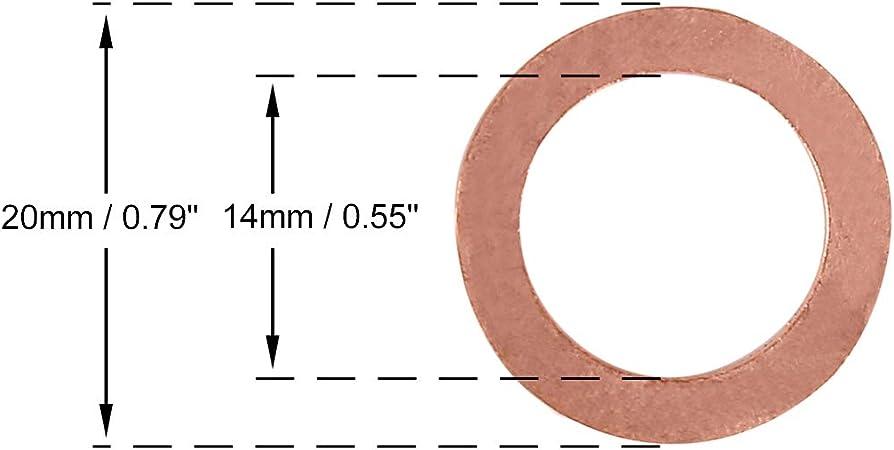 X AUTOHAUX 20 Piezas Arandela de Cobre Junta de Sellado Plano para Coche 14x20x1,5 mm