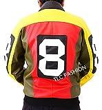 8 Ball Leather Jacket Men - Michael Hoban Moto Riders Mens Bomber Jacket