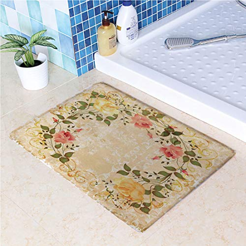 Non-Slip Rubber Back Extremely Durable Anti-Slip Water Resistant Floor Mat Oval Shape Floral Crown with Leaves and Roses Over Damask Motif Shabby Boho for Kitchen Hallway Entrance Doormat Home Décor