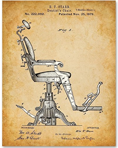 Dentist Gifts - Dentist Chair - 11x14 Unframed Patent Print - Great Gift for Dentist or Dental Students