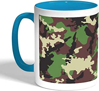 Army clothing Printed Coffee Mug, Turquoise Color