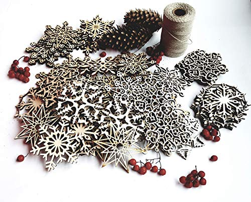 48 Wooden Christmas Snowflakes Ornaments Rustic Decorations Wood Home Decor Idea Scandinavian Laser Cut Snowflakes Set Gift Wrapping Tag Idea 3.7