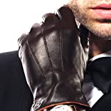 Elma Men's Touchscreen Texting Winter Italian Nappa Leather Gloves (9, Brown (2014 Winter New Cashmere Lining))