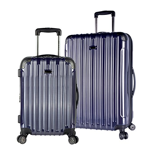 Tone Expandable Travel Set - TPRC 2 Piece Hardside Expandable Eye-Catching Dual Tone Luggage Set, Black & Navy Color Option
