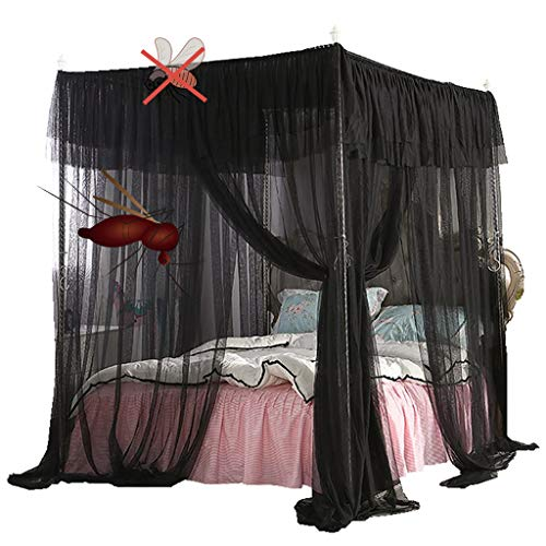 Obokidly Mosquito Canopy Net for Bed Luxury Canopy Netting 4 Corners Post Bed Canopies Stylish Style Bedroom Decoration for Man Adults & Boys Girls for Twin/Full/Queen/King (Black, Queen)