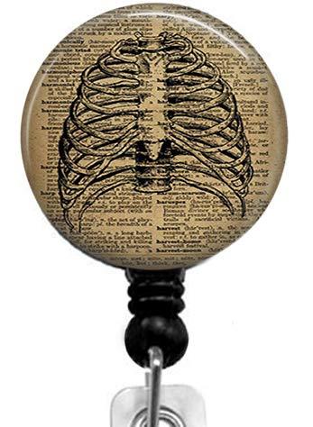 Skeleton on Books Badge Reel,Retractable Name Card Badge Holder with Alligator Clip, Medical MD RN Nurse Badge ID, Badge Holder, Office Employee Name Badge (Skeleton Reel)