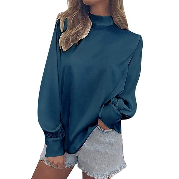 LANSKIRT Camiseta Mujeres de Moda Top de chifón con Manga Linterna de Cuello Alto Chiffon Solid