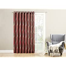 No. 918 50302 Intersect Extra Wide Casual Textured Grommet Patio Door Curtain Panel, Paprika Red, 100 X 84