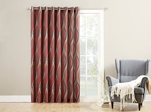918 Intersect Wave Print Casual Textured Curtain Panel 100 X 84 Paprika Red