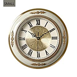 Creative Ceramics Wall Clock,European Style Plated Copper Silent Wall Decoration Excellent Clock for Living Room Bedroom Kitchen Hotel-White-Small 32cm(12inch)