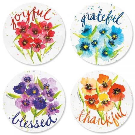 Poppies & Gratitude Every Day Envelope Seals (4 Designs) - Set of 144 1-1/2 diameter Self-Adhesive, Flat-Sheet Every Day sticker (Poppy Stationery)