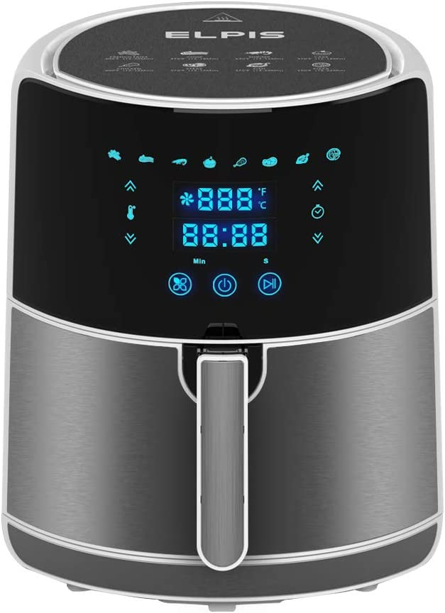 Ceramic Non-Stick Air Fryer 1400-Watt 5.8-QT Digital Touchscreen Stainless Steel Oven Oilless Cooker with Recipe Included (5.8QT, White)