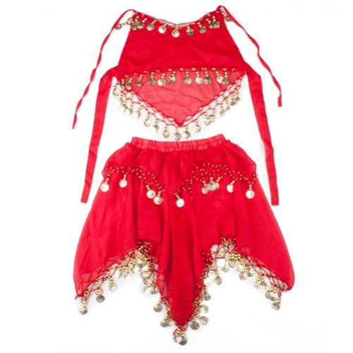 [TopTie Kid's Belly Dance Pull-On Skirt & Halter Top Set, Halloween Costumes RED-M] (Ideas For Halloween Costumes For Teenage Girl)