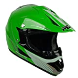 PGR X25 Youth Glory Motocross MX BMX Dirt Bike Dune Buggy Enduro ATV Quad Off Road DOT Approved Helmet (Green, Youth XLarge)