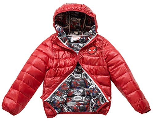 Marvel Spiderman Toddler/Boys Ultralight Hooded Puffer Jacket, 2T-5T & 3-7, Official Licensed Product (3, Red)