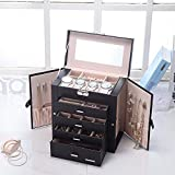 SSLine Deluxe Large Jewelry Box 5-Tier Leather Jewelry Storage Chest Portable Travel Case with Watch Sunglasses Earring Holder Organizer - Black