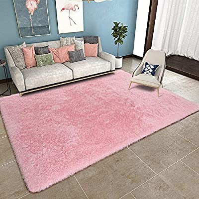 YOH Modern Fluffy Area Rug for Bedroom Living Room Ultra Soft Shag Fur Rug Floor Carpet Girls Kids Rooms Nursery Decor Mats, 5.3 x 7.5 Feet, Pink - Perfect Size and Soft Material Rug: The Shag Rug is 5'3''x7'5'(160 cm by 230 cm), It's thickness is about 1.77 inches / 4.5cm, the carpet has super soft velvet surface, Super soft feeling protects the toes from cold and hard floors, give your feet the gift of exceptionally comfort feeling. Non-Slip Protection: This area rug has a back lining made of suede fabric, it can be prevent them from bunching and sliding while children or pets are playing or during normal daily use. make sure anyone stepping on the carpets are safe with YOH rug. Easy Clean: Please try to hand wash or wipe clean, please air dry it and try not to use the machine to dry. - living-room-soft-furnishings, living-room, area-rugs - 51S2bF3Ep0L. SS400  -