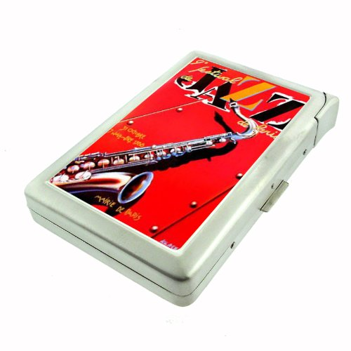 Jazz Festival Saxophone Cool Double-Sided Cigarette Case with lighter, ID Holder, and Wallet D-154