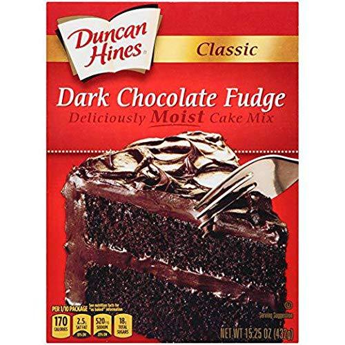 Duncan Hines Classic Dark Chocolate Fudge Cake Mix, 15.25 Ounce - 12 per case.
