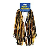 Club Pack of 48 Pre-Packaged Black and Yellow Football Themed School Spirt Poly Shakers 12''