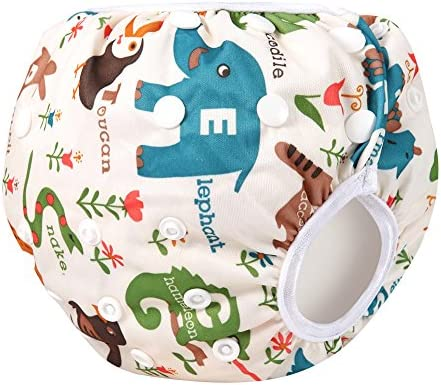Reusable Swim Diapers Washable Swim Nappies with Adjustable Snaps for Baby Shower Gifts /& Swimming Lessons 2 Packs