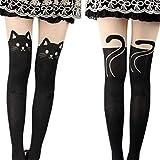 Oplaza Kitten Print Socks CAT Tail Tattoo Tights Pantyhose Stockings Underwear (Black)
