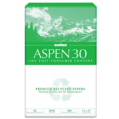 Boise : ASPEN Copy/Laser Paper, 92 Brightness, 20lb, 11 x 17, 2500 Sheets -:- Sold as 2 Packs of - 5 - / - Total of 10 Each by Boise
