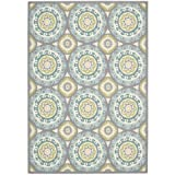 "Nourison Wav01/Sun & Shade (SND16) Jade Rectangle Area Rug, 7-Feet 9-Inches by 10-Feet 10-Inches (7'9"" x 10'10"")"