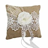 Krismile® Lace Flower Decor Burlap Hessian Wedding Ring Pillow Bridal Decoration Products Supplies