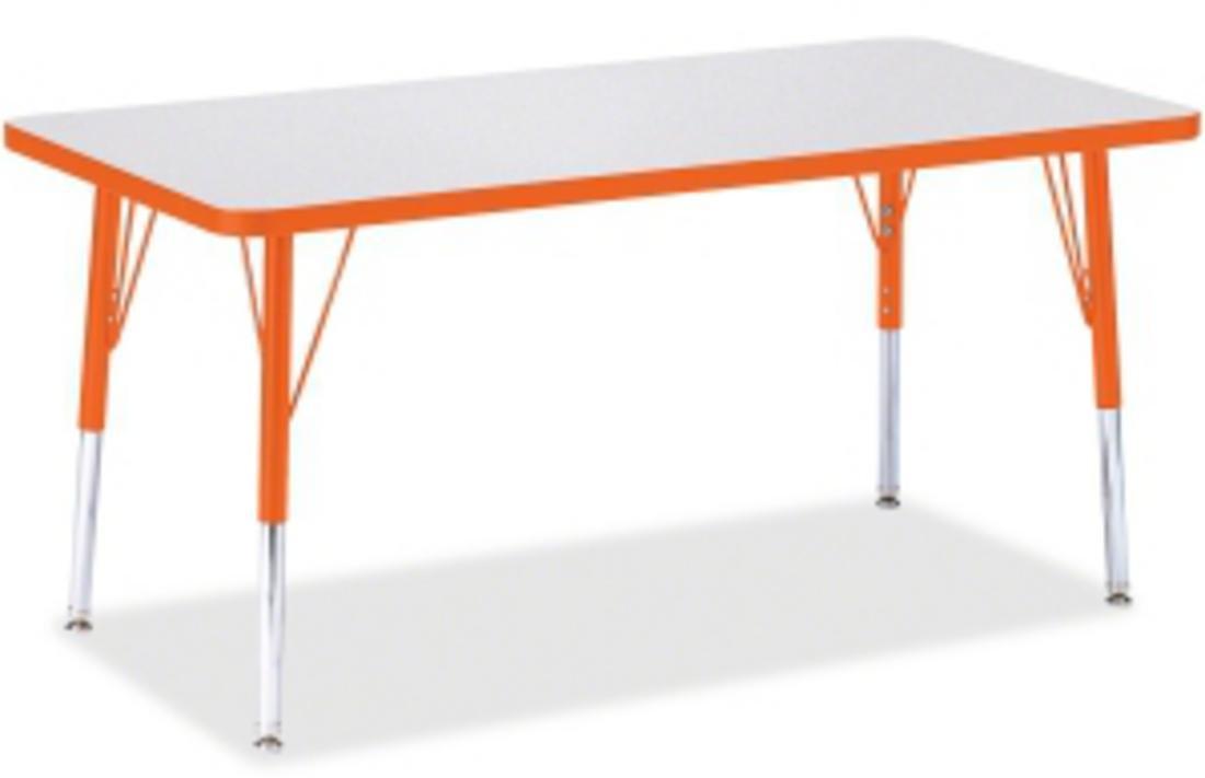 Jonti-Craft Rainbow Accents Rectangle Activity Table Orange, 48L x 24W inches