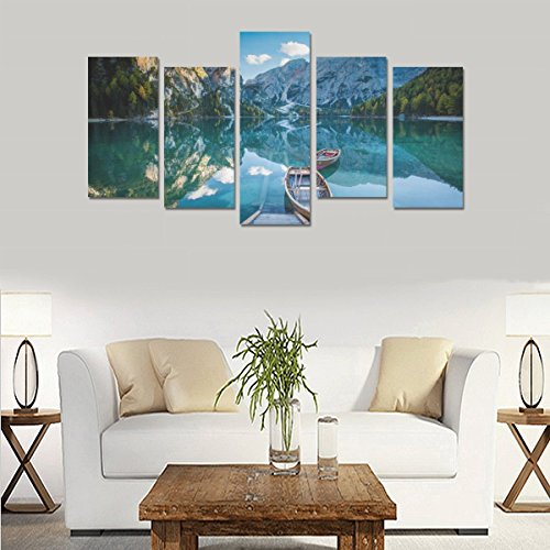 Hotel or Spa Personalized Design Lake Mountain Charm Landscape Canvas Print Home Fashion Mural Bedroom Oil Painting Decoration 5 Piece Canvas painting (No Frame) by sentufuzhuang Canvas Printing